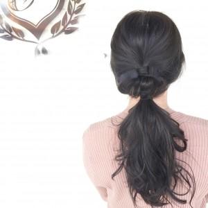 笠岡美容室Gratia(グラーティア)。簡単なヘアアレンジ。