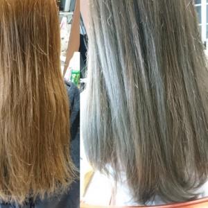 笠岡美容室Gratia(グラーティア)。 オレンジが出てきた髪におススメのカラー。
